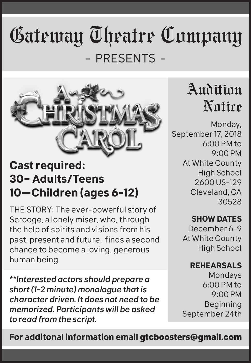 a christmas carol in cleveland ga movie theaters gateway theatre company - Christmas Carol Script